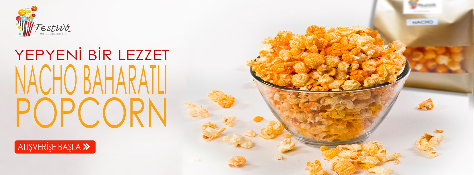 Yepyeni bir lezzet. Nacho Baharatlı Popcorn.
